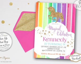 INSTANT DOWNLOAD - Rainbow Unicorn Birthday Party Invitation - Glitter Unicorn Invite - Rainbow Party - Unicorn Party - Gold Glitter - 0220