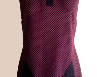 Burgundy/black pie de poule Mod dress