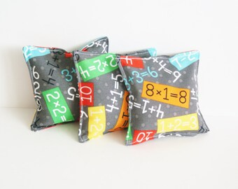 Set of 3 Beanbag Toys - WASHABLE Bean Bag Toss - Number Bean Bags - Math Teacher Gift - Preschool Toy - Teacher Appreciation - School Game
