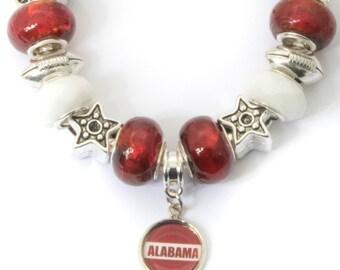 Alabama, Crimson and White, Football Charm, Bracelet with Alabama Pendant
