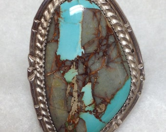 A Royston Boulder Turquoise Ring, Size 12, Indian made