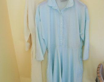 TWO, Vintage, Poly/Cotton Shirt Dresses, American Shirt Dress Company, Pale Yellow, Women's Large, Size 14/16