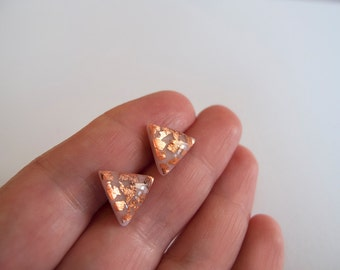 Rose and Copper Triangle Stud Earrings - Hypoallergenic Surgical Steel Posts