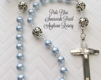Protestant Prayer Beads, Anglican Prayer Beads, Pale Blue Pearl Episcopal Rosary, Stainless Steel Cross, Christian Gift,