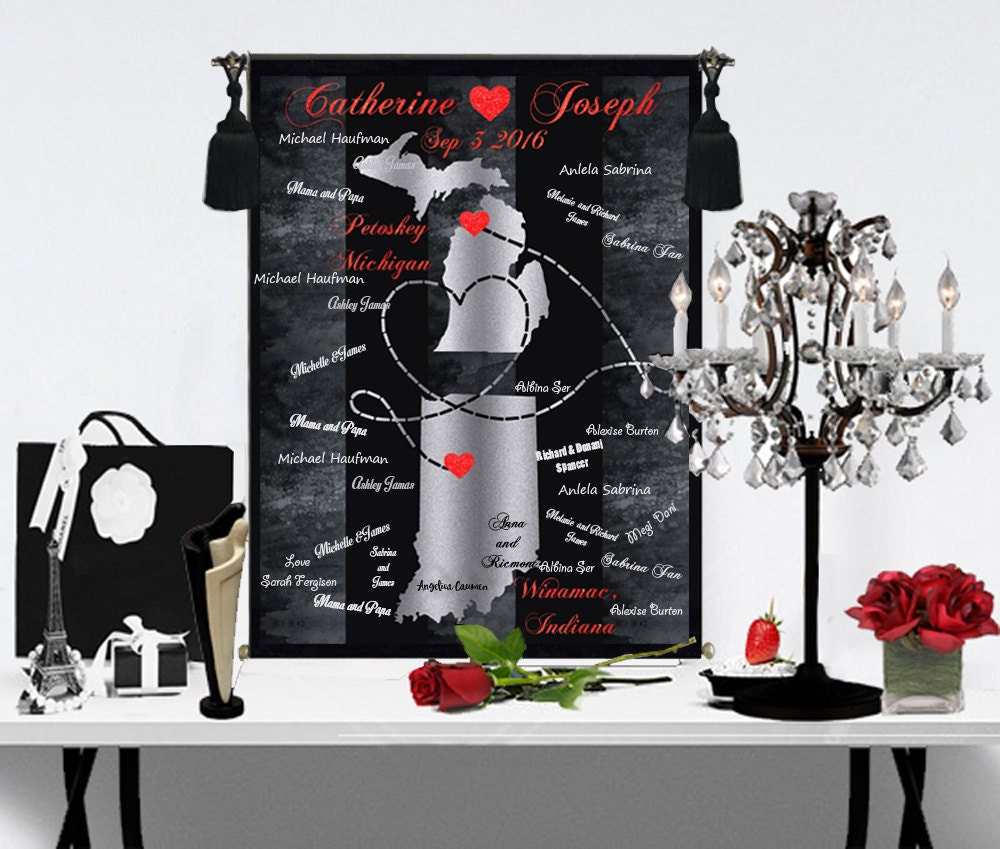 Alternative Gifts For Wedding Party : wedding guest book alternative wedding gift personalized wall