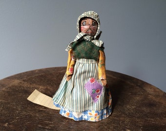 Prairie Doll Antique Folk Art Doll Walnut Head Doll Hand Painted Cotton Dress and Wool Shawl Bonnet Apron 1930's Collectible Souvenir RARE