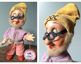 Snow White and the Seven Dwarves RARE Antique 1930's Doc Doll Walt Disney's Collectibles Vintage Souvenir Dolls Knickerbocker Toy Company