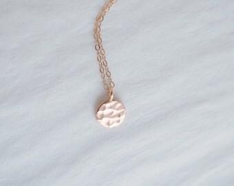 Rose Gold Necklace, Rose Gold Disc Necklace