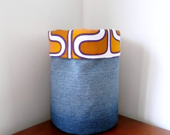 Fabric Storage Basket - Vintage Fabric and Upcycled Jeans