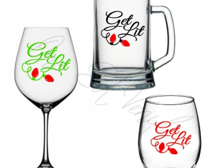 Get Lit with lights, Christmas Decals, DIY Vinyl Decals Wine Glass, Mugs ... Glass NOT Included