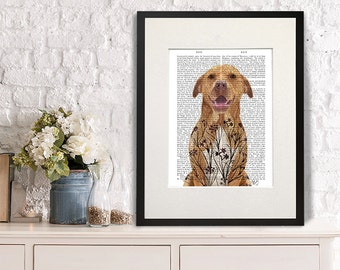 Pitbull terrier print - Pit Bull with floral tattoo - cute pit bull print pit bull wall art pitbull gift for pittie lover pit bull lover