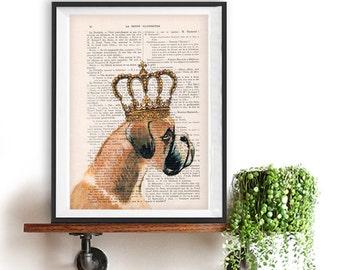 Boxer poster, Boxer art, Dog Artwork, Boxer Art Print, Gift for Him, Red, Office Wall Art, Wall Decor, Home Decor, Boxer king