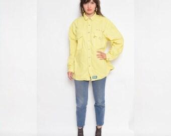 Vintage 90's Levi's Yellow Button Denim Shirt / Denim Long Sleeve Shirt - Size Large