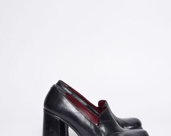 Vintage 90's Black Real Leather Chunky Heel Platform Shoes