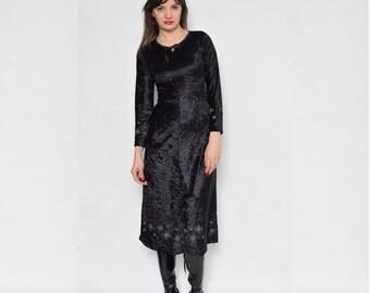 Vintage 90's Embroidered Black Velvet Dress / Long Sleeve Black Velvet Dress / Bell Sleeve Velvet Dress - Size Extra Small