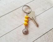 Sun Keychain, Sun Face Beaded Key Chain, Sunny Day Yellow Sunshine Beach Lovers Gift