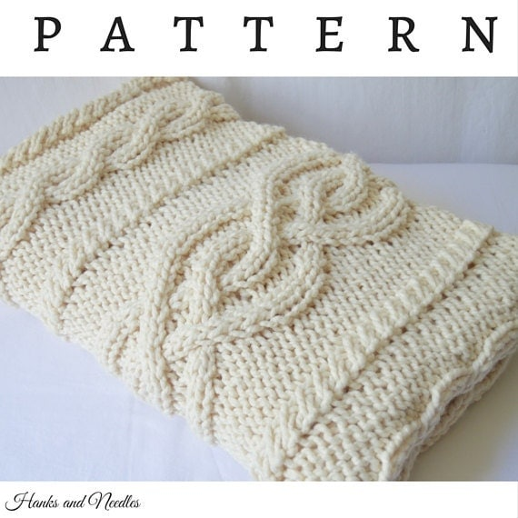 Knitting Pattern Blanket Throw : Chunky Knit Cable Throw Blanket Knitting Pattern PDF