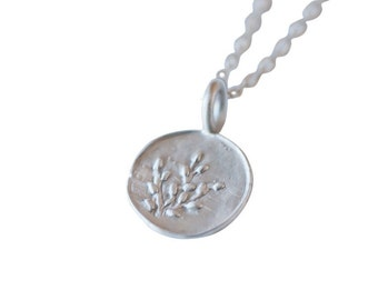 Recycled Silver Spring Plants Charm Necklace, No. 2, Spring Nature Jewelry