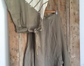Made in Japan top & skirt linen set