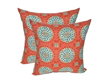 Red turquoise pillow