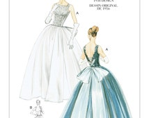 Vogue V8729 UNCUT 1956 Design Special Occasion Close Fitting Backless Square Front Neckline Sewing Pattern