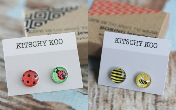 2 Pair SALE - Ladybird and Bee Earrings - Surgical Steel Studs Handmade