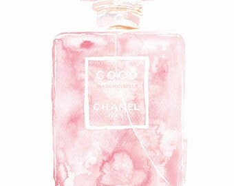 Coco Mademoiselle Chanel Perfume Paris Pink Watercolour Painting