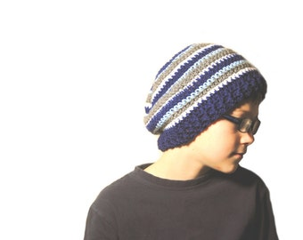 Boys Slouchie Beanie, Baby Boy Crochet Hat, Mens Winter Hat, Hipster Hat, Striped Slouch Hat, Teen Boys Hat, Toddler Boys Hat, Kids Slouch