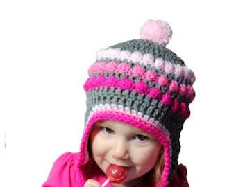 Baby Hat, Pink Ombre Crochet Hat, Girls Winter Hat, Knit Baby Girl, Knit Hat, Pink Gray Girls Hat, Ombre Hat, Newborn Photo Prop Toddler Hat