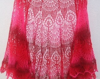 100% Wool Hand Knitted Lace Red Shaw. Ready to Ship. Free Shipping