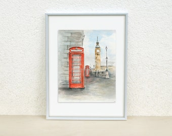 London sketch. Big Ben, London painting. London telephone box. British. London bus. Big Ben sketch. Urban sketch. Original. 8x10