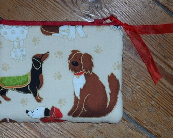 Pretty 100% hand-sewn dogs cotton zipped purse.