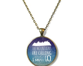 The Mountains are Calling and I Must Go Necklace Map Bohemian Jewelry Bohemian Gypsy Jewelry, Inspirational Wanderlust Jewelry, Boho Jewelry