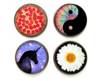 Pizza, Yin Yang, Daisy, Unicorn 90's Grunge Magnet Set of 4, Stocking Stuffers Grunge Decor, Cute Fridge Magnets, Funny Refrigerator Magnets