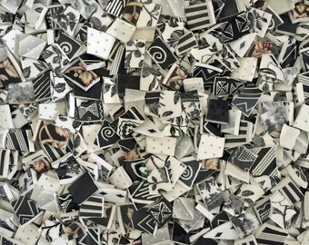 Two Pounds Unique BLACK AND WHITE Blend Assortment Mix Tiles for Mosaic -  Broken China