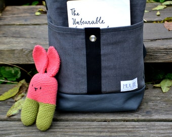 mini-AHTI Backpack / Rucksack for children made from waxed recycled fabric, grey