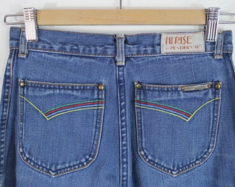 70s Embroidered Pocket High Waist Jeans