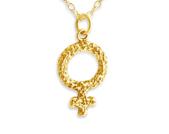 Female Venus Symbol Charm Pendant Necklace #14K Gold Plated over 925 Sterling Silver #Azaggi N0332G