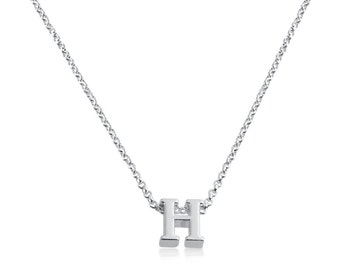 Initial Letter H Personalized Letters Serif Font Pendant Necklace #925 Sterling Silver #Azaggi N0597S_H