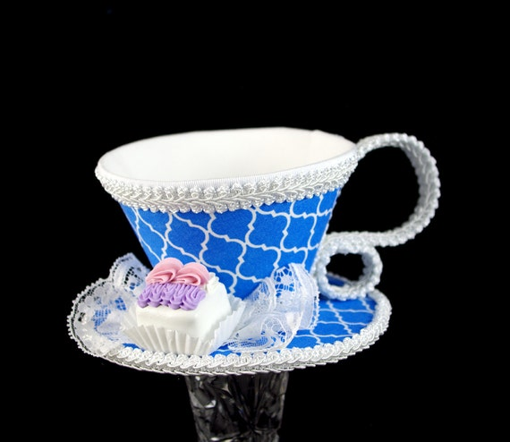 Blue and White Quatrefoil with White Petit Four Tea Cup Fascinator Hat, Alice in Wonderland Mad Hatter Tea Party, Derby Hat
