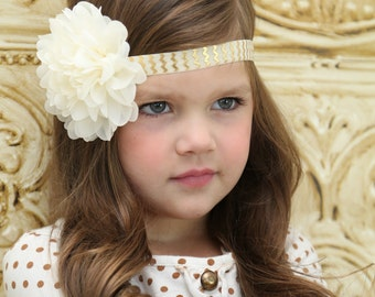 Ivory Flower Headband, Flower Girl Headband, Ivory Headband, Wedding Headband, Baptism Headband, Communion Headband, Newborn Headband