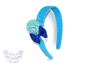 Blue Lollipop Headband , Blue Headband, Candy Headband, Blue Flower girl, Blue Wedding Ideas, Hair Accessories, Wedding Planning, Blue