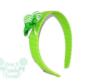 Lime Green Lollipop Headband , Bright Green Headband, Candy Headband, Bat Mitzvah Hair Ideas, Quinceañera Headband, Candy Themed Party