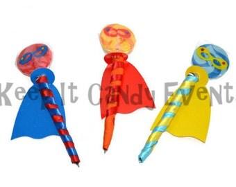 Super Hero Lollipen, Lollipop, Candy Pen, Super Hero Birthday Favor, Super Hero, Candy, Birthday, Lollipop, Favor, Lollipop Pen, Edible Pen
