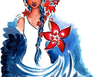 Flower Braids, Flower Braids Art Print, Art Print
