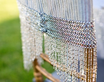 Shimmery Silver Fabric with Cabaret Trim Chiavari Chair Cover Accent