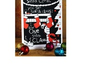 "Funny Holiday Card Set, ""You Saw Santa Claus, I Saw One Claw"", by Spaghetti Toes, 8 Cards and Envelopes"