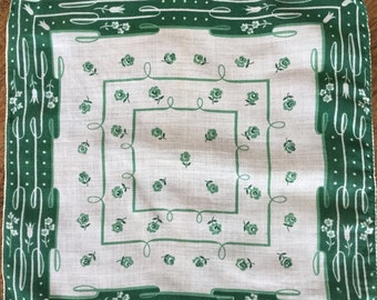 "Vintage hankie, off white cotton with green floral design, 11"" square"