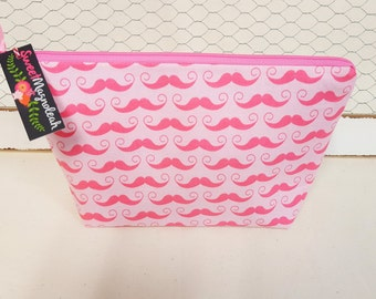 Makeup bag, Cosmetic pouch, Travel pouch, Large zipper pouch, Pink mustaches