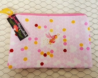 Makeup pouch, Zipper pouch, Small cosmetic bag, Bees